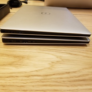 The 9370 is slimmer due to the use of only usb-C ports